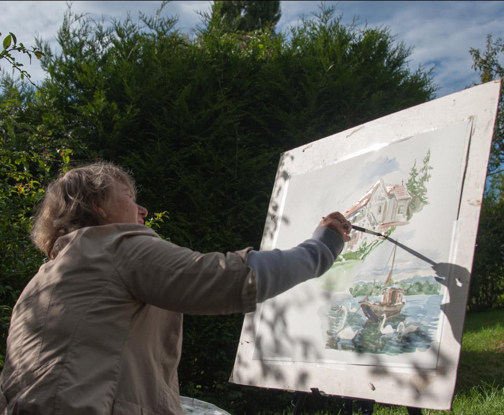 Anna Filimonova dans les jardins de la maison de Claude Bonnard